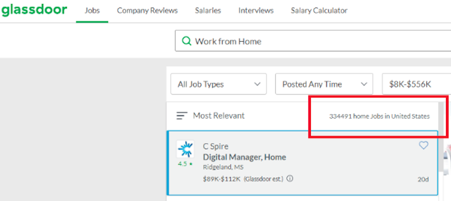 Glassdoor currently offers 334,491 home Jobs in the United States.