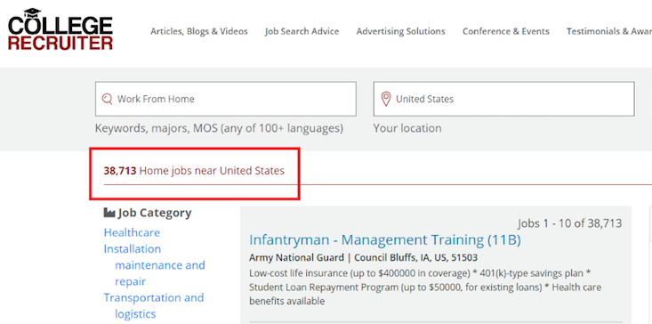 CollegeRecruiter screenshot of total work from home jobs currently listed.