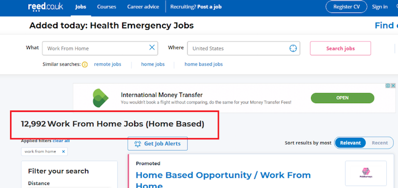 Reed offers 12,992 work from home jobs in the United States right now.