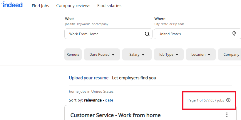 Over at Indeed.com there are 577,657 work-from-home jobs currently available